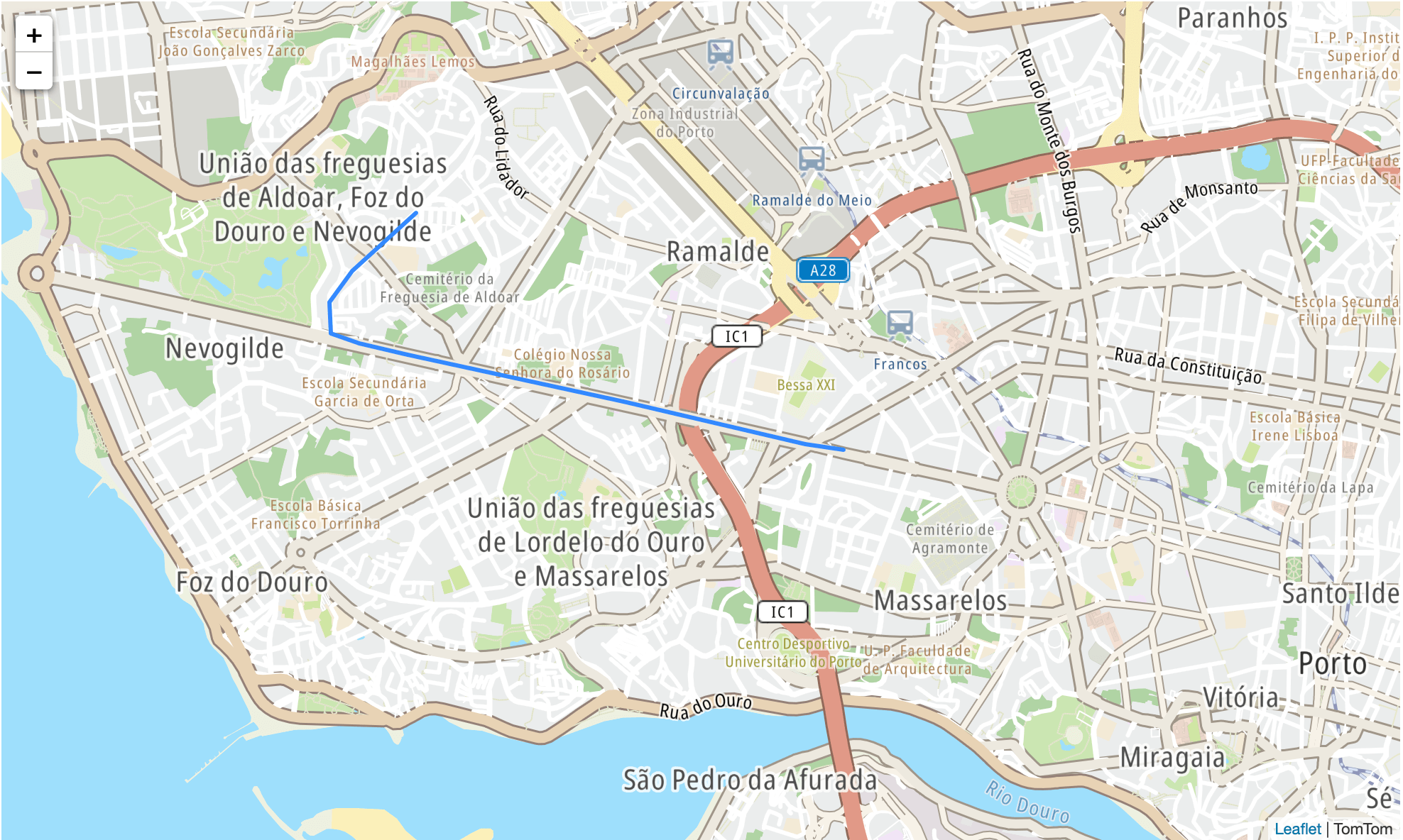 TomTom Map route displayed