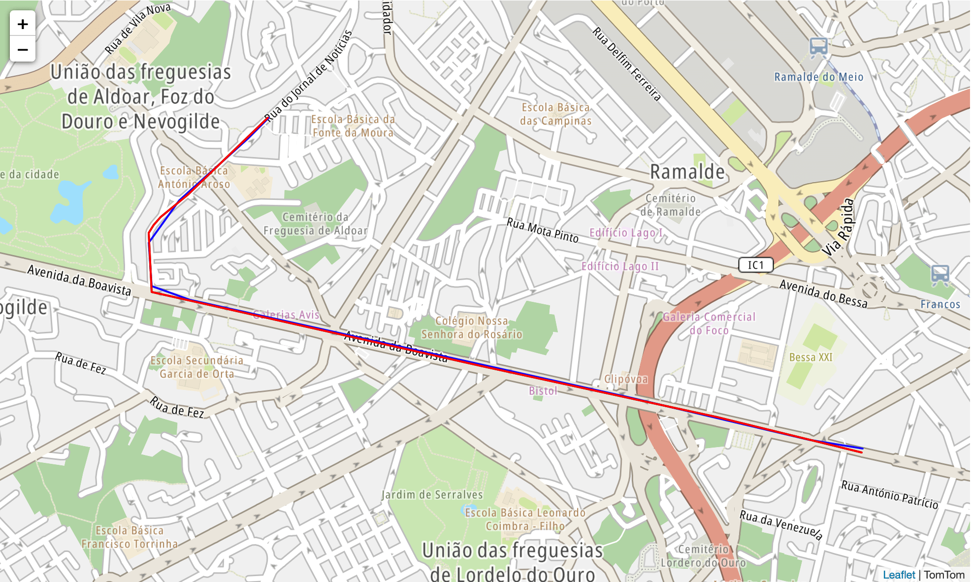 TomTom Map route fastest
